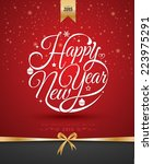 happy new year  lettering... | Shutterstock .eps vector #223975291