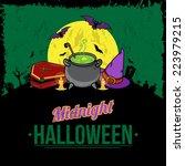 halloween background. bright... | Shutterstock .eps vector #223979215