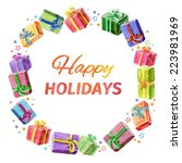 card with christmas and new... | Shutterstock .eps vector #223981969