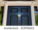 closeup of black front door and ... | Shutterstock . vector #223996021