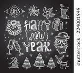 christmas decoration chalkboard ... | Shutterstock .eps vector #224001949