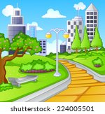 summer day in public city park | Shutterstock .eps vector #224005501