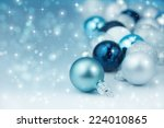 colorful blue christmas... | Shutterstock . vector #224010865