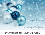 colorful blue christmas... | Shutterstock . vector #224017369