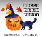 halloween party. watercolor... | Shutterstock .eps vector #224018911