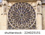 Rose window in Notre Dame Cathedral. Paris. France