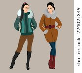 two fashionable women in winter ... | Shutterstock .eps vector #224025349