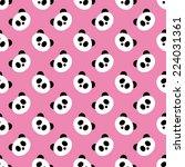 seamless pink panda pattern | Shutterstock . vector #224031361