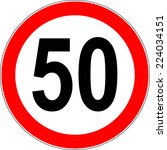 speed limit sign number fifty... | Shutterstock .eps vector #224034151