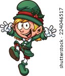 happy christmas elf. vector... | Shutterstock .eps vector #224046517