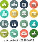 icons set of places in flat... | Shutterstock .eps vector #224056921