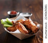 barbecue buffalo chicken wings... | Shutterstock . vector #224065081