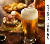 beer with hamburgers on... | Shutterstock . vector #224068615