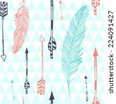 seamless pattern with feather... | Shutterstock .eps vector #224091427