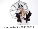 young woman dressed in vintage...   Shutterstock . vector #224103319
