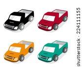 cute pickup truck car vector | Shutterstock .eps vector #224111155