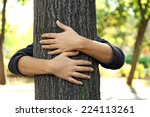 Person Hugs Trunk Large Tree ...