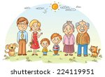 big happy family outdoors | Shutterstock .eps vector #224119951