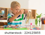 confused boy working with... | Shutterstock . vector #224125855