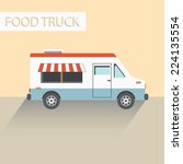 food truck with long shadow | Shutterstock .eps vector #224135554