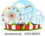 cartoon amusement park roller... | Shutterstock .eps vector #224148391