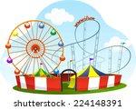 cartoon amusement park roller... | Shutterstock .eps vector #224148391