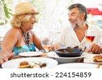 senior couple enjoying meal in... | Shutterstock . vector #224154859