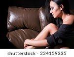 beautiful brunette woman lying... | Shutterstock . vector #224159335