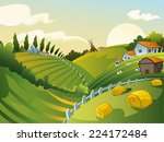 Rural Landscape With House And...