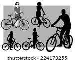 bicyclists silhouettes | Shutterstock .eps vector #224173255