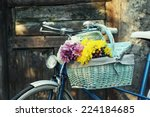 old bicycle with flowers in... | Shutterstock . vector #224184685