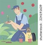 Stock vector gardener gardening garden park plants flower fruits landscape 224191639