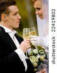 bride and groom drinking...   Shutterstock . vector #22419802