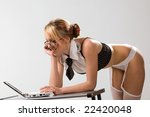 sexy girl wearing very short... | Shutterstock . vector #22420048