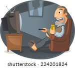 man watching tv and drinking... | Shutterstock .eps vector #224201824