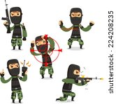 terrorist set with mask gun and ... | Shutterstock .eps vector #224208235