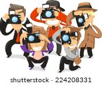 paparazzi taking pictures... | Shutterstock .eps vector #224208331
