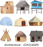 set of traditional housed... | Shutterstock .eps vector #224216005