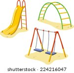 park playground equipment set... | Shutterstock .eps vector #224216047