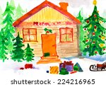 christmas ornate winter home in ... | Shutterstock . vector #224216965
