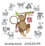 chinese new year of the monkey... | Shutterstock .eps vector #224235199