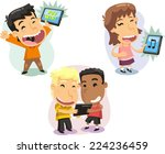 children kids playing with... | Shutterstock .eps vector #224236459