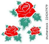 the roses. set. vector... | Shutterstock .eps vector #224247979