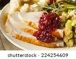 homemade thanksgiving turkey on ...   Shutterstock . vector #224254609