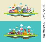set of flat design sport ... | Shutterstock .eps vector #224272021