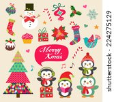 vector set of christmas... | Shutterstock .eps vector #224275129
