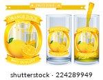lemon juice label vector visual ... | Shutterstock .eps vector #224289949