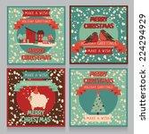 set of christmas cards in retro ... | Shutterstock .eps vector #224294929