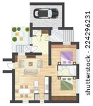 colorful floor plan of a house. | Shutterstock .eps vector #224296231