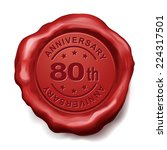 80th anniversary red wax seal... | Shutterstock .eps vector #224317501